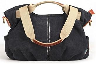 Eshow Women's Casual Canvas Hobo Shoulder Bag, Black