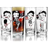ARC International Luminarc Betty Boop/Coca Cola Assorted Cooler Glass, 15.25-Ounce, Set of 4