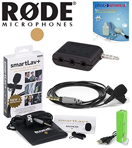 Rode Smartlav+ Bundle Lavalier Microphone For Iphone And Smartphones W/ Rode Sc6 Breakout Box, Power Bank Battery