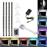 Aneo 4x 50cm LED Streifen RGB / TV Stimmungslicht Hintergrund 5050 SMD mit 24 Tasten Fernbedinungen und Netzteil 12V 3A
