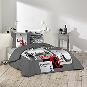 Housse de couette 220 x 240 cm taies i love new york for Amazon housse de couette