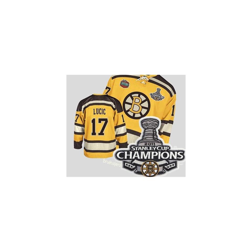 Champions Patch Boston Bruins #17 Milan Lucic Winter Classic Hockey Jersey NHL Authentic Jerseys Sports Jerseys Size M L Xl XXL Xxxl
