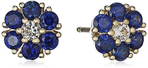 10k-Yellow-Gold-Flower-Created-Sapphire-and-Created-White-Sapphire-Stud-Earrings