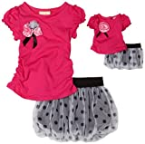 Dollie & Me Girls 2-6x Short Sleeve Tee With Bubble Skooter Skirt