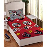 Athom Trendz Disney Minnie Mouse 104 TC Cotton Single Bedsheet With 1 Pillow Cover - Modern, Blue