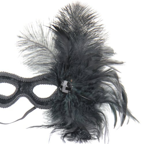 NATI Women's Feather Masquerade Mask Color Black