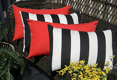 Set of 4 Indoor / Outdoor Decorative   Pillows - 2 Black & White Stripe and 2 Solid Red