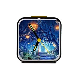 Home Decor Personalized Halloween Alarm Clock as a Nice Gift Black 3.27inch