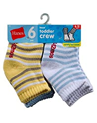 Hanes Toddler Boys Non-Skid Crew Socks P6,26/6,12-24 mo, Assorted Color
