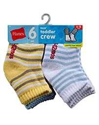 Hanes Toddler Boys Non-Skid Crew Socks P6,26/6,2T-3T, Assorted