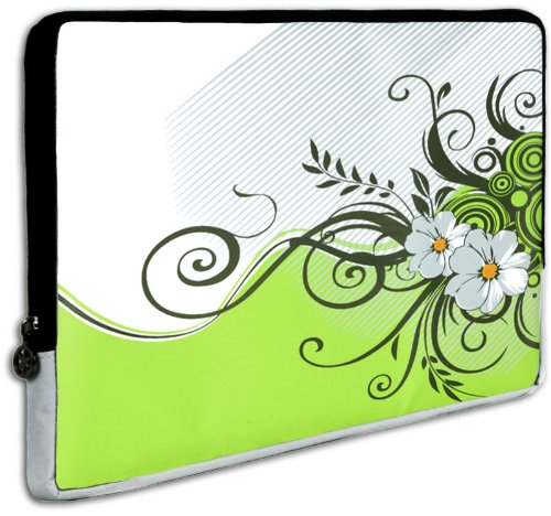 15 inch Notebook Laptop Computer / Apple MacBook Pro 15 Green Floral Garden Carrying Case Sleeve