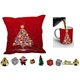 MeSleep Merry Christmas Cushion Cover In Digital Print, Mug And Christmas Decoration Combo - B018KARKXQ