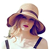 Search : Home Prefer® Womens Straw Sun Hat UPF50+ Wide Brim Floppy Hat Summer Beach Cap