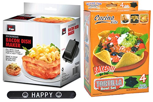 Perfect Baked Tortillas Bowl Maker 4 Set and Microwave Bacon Bowl Novelty Unusual Cookware Gift Set for Her Him with HAPPY Slapstick