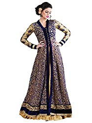 Om Fashion Women's Net Anarkali Unstitched Dress material (FS1890_Blue_Freesize)