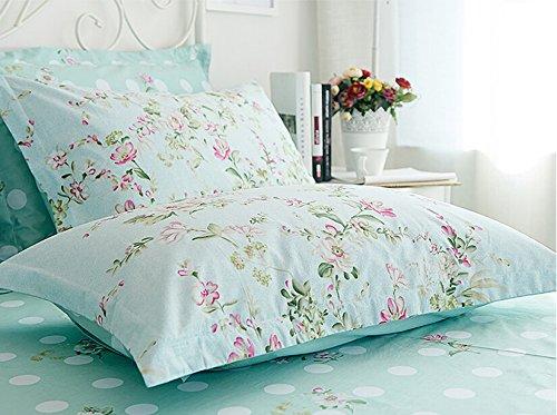 Sisbay Spring Rural Bedding Set Vintage Cotton,New Design Elegant Floral Duvet Cover,Girls Wedding Bed Sheet Full,4pcs 6