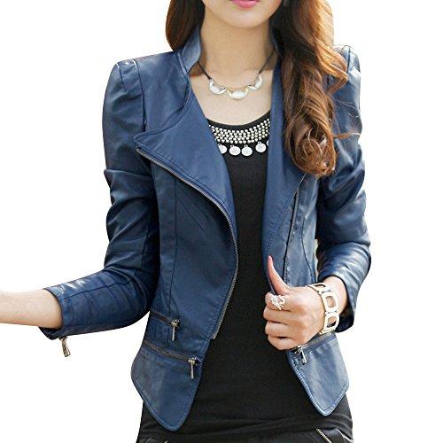 Egelbel Womens Faux Zip up Short Biker Jacket Coat Bomber Outerwear