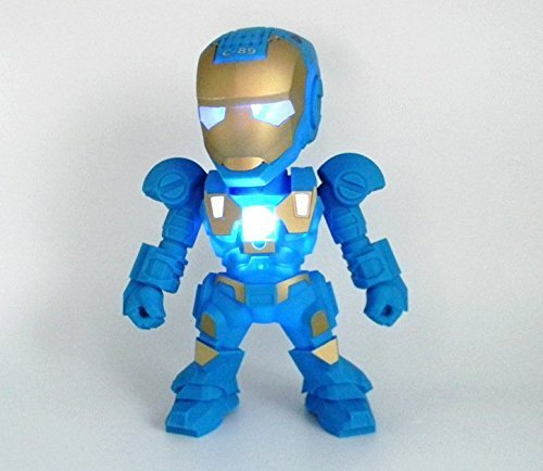 Apltch® New Iron Man Wireless Bluetooth Speaker C-89 Mini Portable Children Style LED Light Speakers Stereo Music Player Support FM TF For Smartphones Tablets PC All Blutooth Devices(Blue) (Iron Man Speaker compare prices)