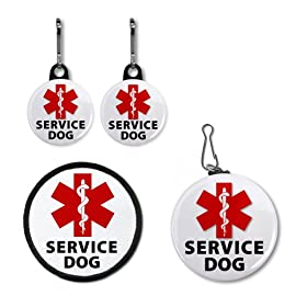 RED SERVICE DOG ALERT Medical Alert Patch Tag Zipper Pull Charms
