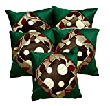 5pcs Green Silk Pillow Covers Indian Modern Luxury Sofa Cushion Covers