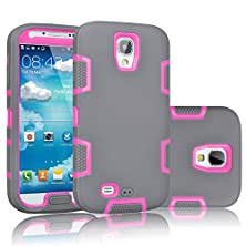buy Galaxy S4 Case, Tekcoo(Tm) [Troyal Series] [Grey/Pink] Hybrid Shock Absorbing Shock Dust Dirt Proof Defender Rugged Full Body Hard Case Cover Shell For Samsung Galaxy S4 S Iv I9500 All Carriers