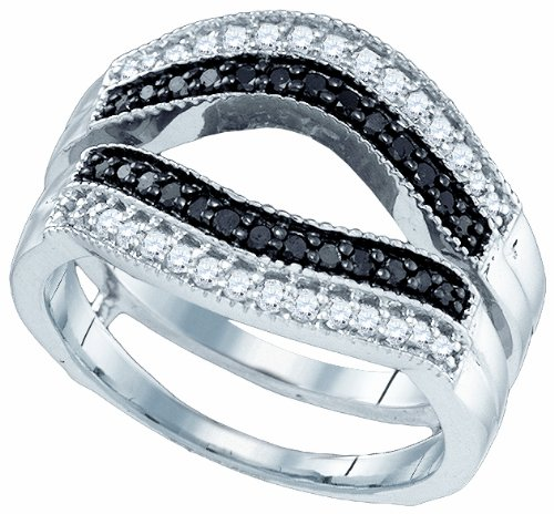 Ladies 10K White Gold 0.55 Ct. Black White Diamond Engagement Ring Enhancer Wrap Band
