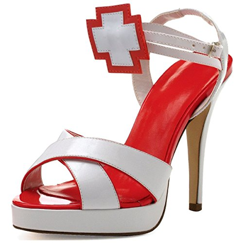 [GSG Sexy Nurse Shoes Adult Womens High Heel Pumps Costume Fetish Fancy Dress] (High Priest Zombie Costumes)