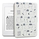 WALNEW Amazon Kindle Paperwhiteホワイト用カバー Kindle Paperwhiteホワイト専用ケース ホワイトなKindle Paperwhite向けレザーケース 猫の絵 素材クリア マグネット機能搭載 最も薄く... ランキングお取り寄せ