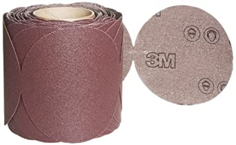 "3M Stikit Cloth Disc Roll 341D, PSA Attachment, Aluminum Oxide, 5"" Diameter, 80 Grit (Roll of 100)"