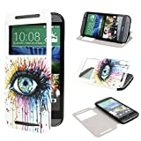 TUTUWEN View Window Painting Art Colorful Style Design PU Leather Flip Stand Case Cover for HTC One M8 HTC One M8 CDMA