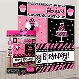 Zebra Stripes 'Pink and Black' Animal Print Giant Scene Setter Wall Decorating Kit (5pc)
