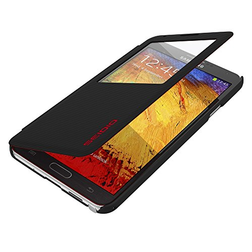 Seidio LEDGER View Extended Case with Metal Kickstand for use with Samsung Galaxy Note 3 with Seidio Innocell Battery Installed - Retail Packaging - Dark Gray