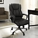 Office Chair With PU Leather Back Support Big&Tall High-Back Computer Desk Chair -Black
