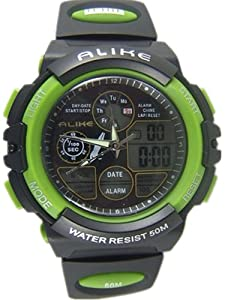 50m Water-proof Digital-analog Boys Girls Sport Digital Watch with Alarm Stopwatch Chronograph 5109-Green