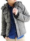 (アーケード) ARCADE 中綿 ダウンジャケット メンズ 秋冬 2WAY ツイード中綿ジャケット M ミックスチャコール