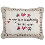 Sentiments Keepsake Embroidered Linen Gift Cushion Pillow - A Hug Is A Handshake