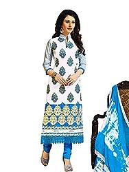 Salwar Studio White & Light Blue Dress Material with Dupatta Simran-3010