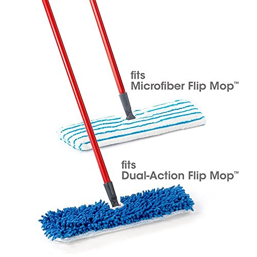 Houseables Flip Mop Refills, 3 Pack, 18 Inch, Dual-Action Microfiber Floor Mops Replacement Pads, Dry/Wet, Machine Washable, Double Sided Velcro Flat Sponge, 18