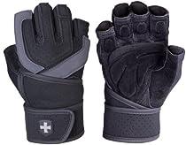Harbinger Training Grip WristWrap Glove, Black/Grey, Large