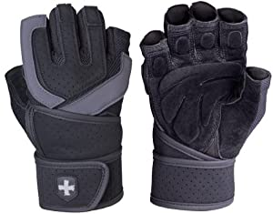 Harbinger Training Grip WristWrap Glove, Black/Grey, Large