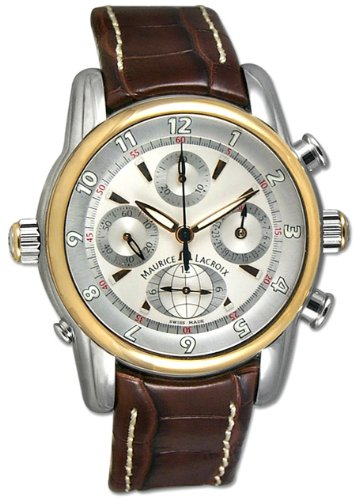 Maurice Lacroix Masterpiece Chrono Globe SS 18k Rose Gold Mens Watch mp6398-ps101-830