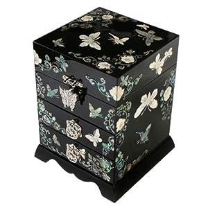 Boîte à Bijoux 4 Etages Papillon Onirique Bois Papier Hanji Corée Nacre Miroir 51RkeM0vSxL._SL500_AA300_