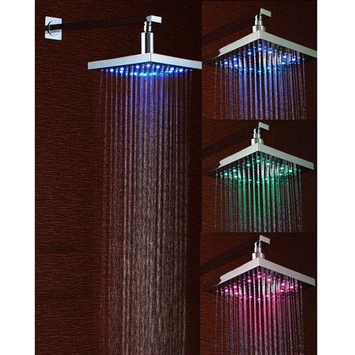 Ouku® 8 Inch Single Functional Temperature Sensitive Rainfall LED Shower Head Chrome Bathroom Bath Fixed Shower Head Square Shower Set