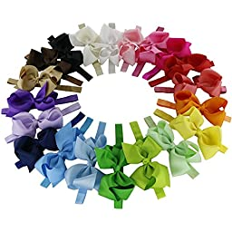 QingHan 20pcs Baby Girl 4.5\'\' Boutique Hair Bows Elastic Fashion Headbands For Teens