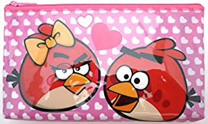 Angry Birds Pink Cosmetic Toiletry Stationery Pencil Lipstick Zipper Bags Case Pouch Purse Gifts for Ladies Women Girls Kids Childrens School Office Travel Christmas