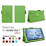 Elsse Fire 7 2015 Folio Case with Stand for Kindle Fire 7 (5th Generation, Sept 2015 Model) - Green