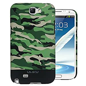 Heartly Army Series Printed Design High Quality Hybrid Tough Armor Hard Bumper Back Case Cover For Samsung Galaxy Note 2 N7100 - Black + Green