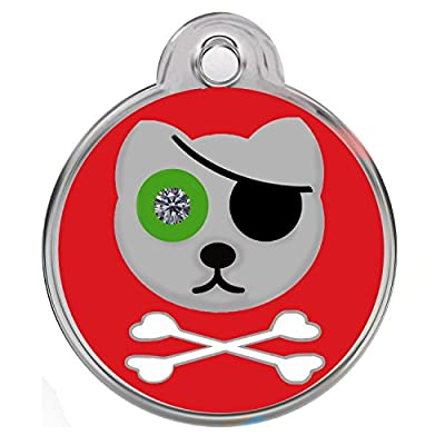 Dog Tags Pet Tags Engraved Designers Crystal Round With Heart Pirate Cat by Cnattags