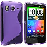 Insten® TPU Rubber Skin Case Compatible with HTC Desire HD / Inspire 4G, Frost Purple S Shape