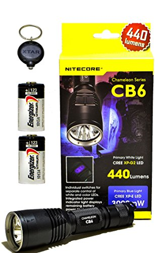 Nitecore Chameleon Series Cb6 440 Lumen Cree Xp-G2(R5) Led Flashlight Combo With 2X Energizer Cr123A And Keychain Light
